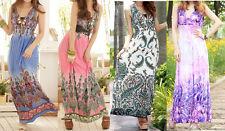 WOMEN LADIES SUMMER BEACH MAXI DRESSES B06 SIZE 6 8 10 12 14 16 18 20 22