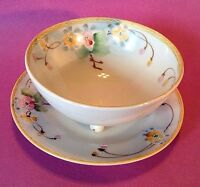Nippon Footed Sauce Bowl And Plate - Hand Painted Yellow Rims - Moriage - Japan