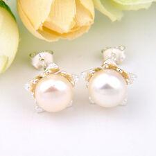 100% Genuine Round Cut White Water Fresh Pearl Gemstone Silver Stud Earrings New