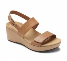 dc4d0e838a6c Vionic Women s Atlantic Lovell Banded Leather Sandals Wedge Tan Shoe US 8  EU 39