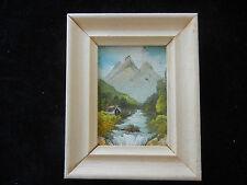 Ölbild mit Holzrahmen, handgemalt, Landschaft mit Gebirge (meine Pos-Nr. 05)