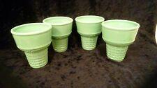 Pfaltzgraff Set of 4 Teal/Green Ice Cream Cone Shaped Ceramic Dishes