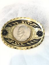 Vintage Belt Buckle Mounted 1776-1976 FIFTY CENT PIECE 50¢ Gold Tone Buckle