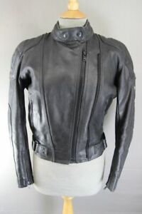 BLACK DYNAMIC LEATHERS BIKER JACKET WITH REMOVABLE BACK PROTECTOR: SIZE 10