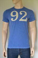 NUOVO Abercrombie & Fitch effetto invecchiato numero Logo Grafico Tee # 92 T-SHIRT BLU S