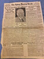Sydney Morning Herald Cover - Death Of WM Hughes - Oct 28 1952