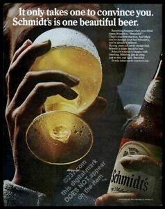 1968 Schmidt's Beer Philadelphia bottle glass photo vintage print ad