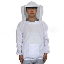 White Beekeeping Jacket Protective Veil Smock Bee Suit Clothes Equipment Coat