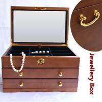 Luxury 3 Layers Wooden Jewellery Box Bracelet Storage Display Necklaces  SU