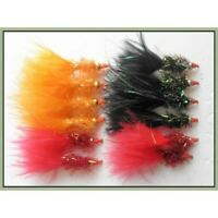 Trout Flies, Lures, 12 Pack, Nomads Orange, Black and Red, Size 10 Fishing flies