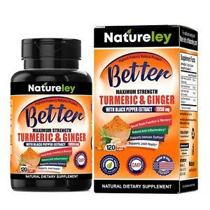 Organic Turmeric & Ginger with Black Pepper Anti-Inflammatory 1950mg 120 Caps