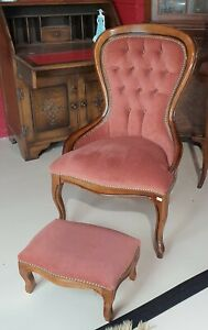 Child Size Mahogany Studded Buttonback Bedroom Chair with Matching Footstool
