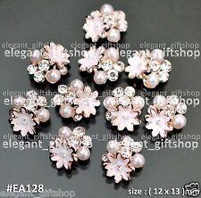 Nail Art Decoration Deluxe Alloy Jewelry Nude Flower Glitter Rhinestones #EA128