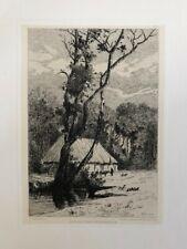 Grande Eau Forte Originale XIXème de Charles Albert PORCHER - Ferme en Normandie