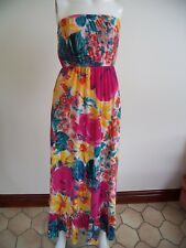BRIGHTLY MULTICOLOURED LINED  MAXI STRAPLESS DRESS-SIZE L - WOULD FIT 10 UPWARDS