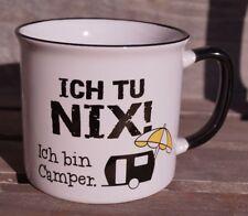 """Keramik Tasse """"Ich tu nix"""" Emaille-Design Geschenk Kaffeetasse Becher"""