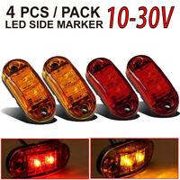 """2 Red 2 Amber 12V LED Side Marker Light 2.5"""" Clearance Lamp Truck Trailer Light"""