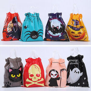 50pcs Halloween Candy Bag Sweet Trick Or Treat Gift Party Decoration Pumpkin AU