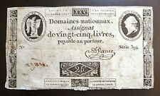 assignat de 25 LIVRES 1792   série 394