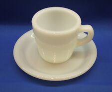 Vintage Fire King White Extra Heavy Restaurant Ware Coffee Cup & Saucer Set #2