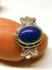 Handmade 925 Sterling Silver Oval Lapis Lazuli Stone Patterned Ring  Size M 1/2