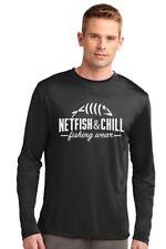 NetFish & Chill Men's Long Sleeve Dri-Fit Fishing Shirt in Black 2Xl
