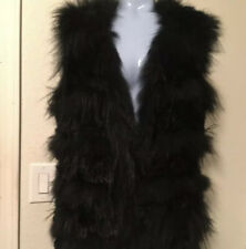 Leon Max Studio 100% Fur Vest Black 4107C63 Rabbit / Raccoon $698