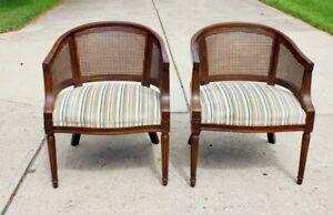 Vintage Mid Century Louis XVI Velvet Barrel Cane Chairs - a Pair
