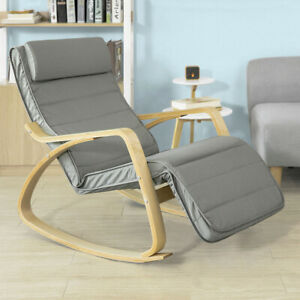 SoBuy ® Fauteuil à Bascule avec Repose-Pieds Design, Rocking Chair FST16-DG, FR