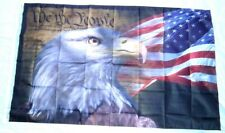 Us Flag With Eagle Red White Blue Constution 3' X 5' Banner Indoor / Outdoor 695