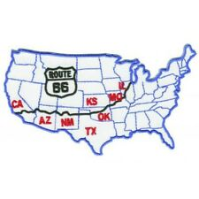 Route 66 USA Map Patch (Iron on)
