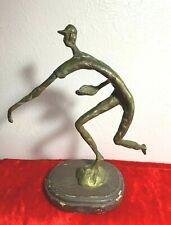 "Vintage Mid-Century Abstract Baseball Player Sculpture Brass Handmade 8.5"""