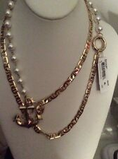$58 BETSEY JOHNSON Anchors Away Faux Pearl & Pendant Necklace BL 6
