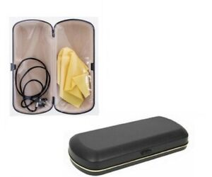 Protective Reading Glasses Hard Case Cover Black With Cleaning Cloth Neck Cord