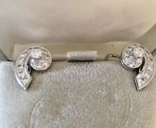 Art Deco Platinum and Diamond Earrings, Handmade