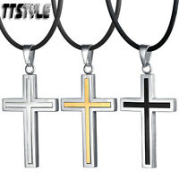 TT Large Stainless Steel Cross Pendant Necklace (NP270) NEW