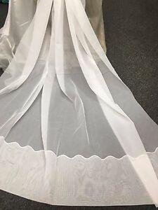 Beautiful Sheer Curtain Voile-Amalfi -PEARL-213 cm drop Rod Pocket Cornelli Hem