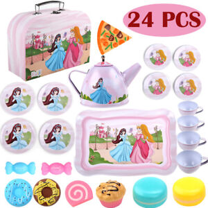 Kids Metal Afternoon Tea-Set Play Food Girl Toy Kitchen Teapot Cups + Carry Case