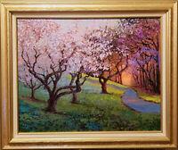 "Branch Brook Park.Original framed oil on canvas 16""x20"" impressionistic painting"