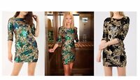 NEW WOMENS LADIES 3/4 SLEEVE EVENING PARTY GOLD LEAF SEQUIN DRESS PLUS SIZE 8-24