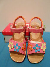 Rachel Shoes Pink Girls Sandals W/ Colorful Flowers Velcro Straps Size 12 Youth