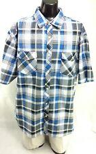 9K Clothing Co Mens 4XL Button Front Short Sleeve Plaid Shirt Blue Black White