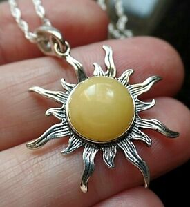 Sterling Silver and Yellow Amber Flaming Sun Necklace Lucky Taurus Birthstone
