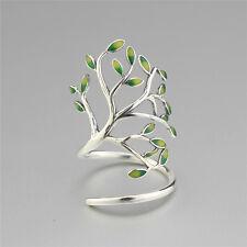 Argento Sterling 925 albero della vita foglia ramo foglie smalto Anello AVVOLGENTE REGOLABILE