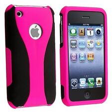 HOT PINK BLACK 3-PIECE HARD CASE COVER for APPLE iPHONE 3G S 3GS