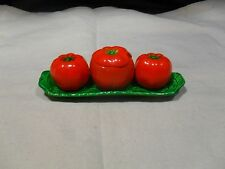 Vintage Tomato Shape ~ Salt and Pepper Shakers w/ Condiment Jar w/ Lid and Tray