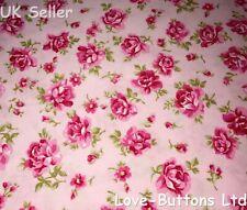 ROSE & HUBBLE PINK FLORAL ROSES FABRIC 100% COTTON 112cm WIDE PER METRE