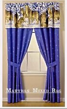"""Wolves Howling Wildlife Cabin Lodge Blue Window Treatment 84""""x 84""""Curtain Drapes"""