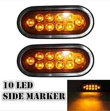 "2pcs 10-LED Stop Turn Tail Lights Amber 6"" Oval Rubber Mount Sealed Brake Light"