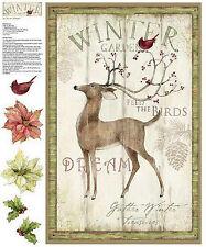 Christmas Winter Garden Deer Cotton Fabric Springs Cut & Sew Project Wall Panel